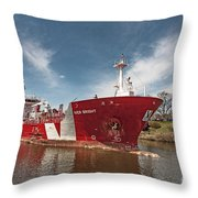 Iver Bright Tanker On The Manistee River Throw Pillow