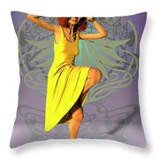 Jacinta In Yellow Throw Pillow