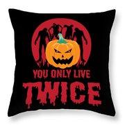 Jackolantern Scary Ghost Zombie Pumpkin Halloween Dark Throw Pillow