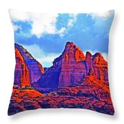 Jack's Canyon Village Of Oak Creek Arizona Sunset Red Rocks Blue Cloudy Sky 3152019 5080  Throw Pillow