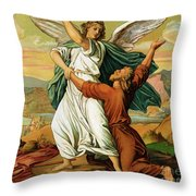 Jacob Wrestiling With The Angel  Throw Pillow