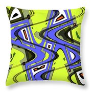 Janca Yellow And Blue Wave Abstract, Throw Pillow