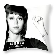 Jane Fonda Mug Shot Throw Pillow