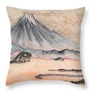 Japan Art And Mount Fuji - Suzuki Kiitsu In Color By Sawako Utsumi Throw Pillow