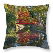 Japanese Garden Red Bridge Reflection Throw Pillow
