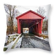 Jericho Covered Bridge Snow Throw Pillow