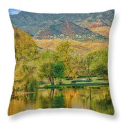 Jerome Reflected In Deadhorse Ranch Pond Throw Pillow
