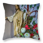 Jesus Christ With Flowers Throw Pillow