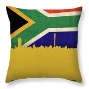 Johannesburg South Africa World City Flag Skyline Throw Pillow
