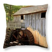 John Cable Mill In Cades Cove Historic Area In Smoky Mountains Throw Pillow