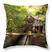 John Cable Mill In Cades Cove Historic Area In The Smoky Mountains Throw Pillow