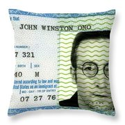 John Lennon Immigration Green Card 1976 Throw Pillow