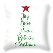 Joy Love Peace Believe Christmas Tree With Red Star