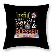 Joyful Merry Blessed Christmas Snowflakes Throw Pillow