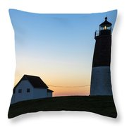 Judith Point Lighthouse Sunset Throw Pillow
