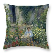 Julie And Ludovic-rodolphe Pissarro Among The Flowers, 1879 Throw Pillow