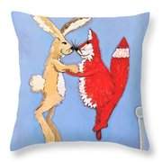 Jumping On The Bed Throw Pillow by Caroline Sainis