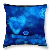 Kaleidoscope Moon For Children Gone Too Soon Number - 4 Cerulean Valentine  Throw Pillow