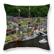 Kalmar Nyckel At Port Throw Pillow