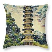 Kanagawa - Pagoda -  Kew Gardens Throw Pillow by Leigh Kemp
