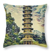 Kanagawa - Pagoda -  Kew Gardens Throw Pillow