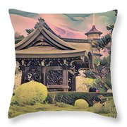 Kanagawa - The Japanese Garden Throw Pillow by Leigh Kemp