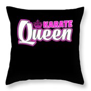 Karate Queen Cute Martial Arts Training Throw Pillow