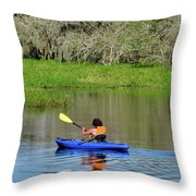 Kayaker In The Wild Throw Pillow