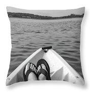 Kayaking In Black And White Throw Pillow