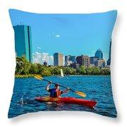 Kayaking On The Charles Throw Pillow