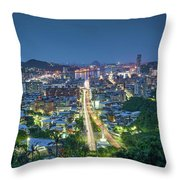 Keelung City Skyline Throw Pillow