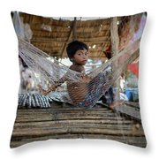 Keeping Cool In Cambodia Throw Pillow