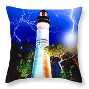 Key West Lightning Light House Throw Pillow