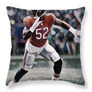 Khalil Mack Chicago Bears Abstract Art 1 Throw Pillow