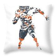 Khalil Mack Chicago Bears Pixel Art 1 Throw Pillow
