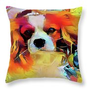 King Charles Spaniel On The Move Throw Pillow