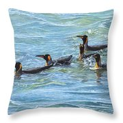 King Penguins Swimming Throw Pillow by Alan M Hunt