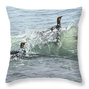 King Penguins Swimming In The Waves Throw Pillow by Alan M Hunt