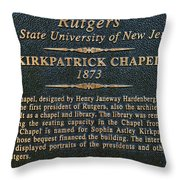 Kirkpatrick Chapel - Commemorative Plaque Throw Pillow