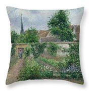 Kitchen Garden, Overcast Morning, Eragny, 1891  Throw Pillow