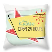 Kitchen Open 24 Hours- Art By Linda Woods Throw Pillow