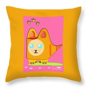 Kitten Footprints Throw Pillow
