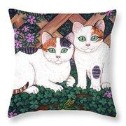 Kittens And Clover Throw Pillow