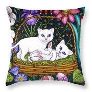 Kittens In A Basket Throw Pillow