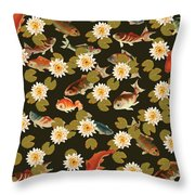 Koi And Lily Pads In Dark Water Throw Pillow