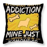 Komondor Funny Dog Addiction Throw Pillow