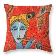 Krishna With Flute Throw Pillow