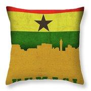 Kumasi Ghana World City Flag Skyline Throw Pillow