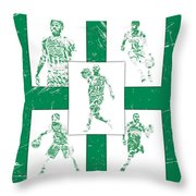 Kyrie Irving Boston Celtics Panel Pixel Art 1 Throw Pillow