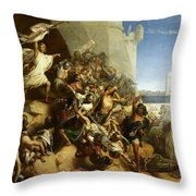 La Defense De L'ile De Rhodes Par Foulques De Villaret, 1309 Throw Pillow